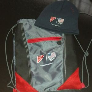 Hat and drawstring backpack